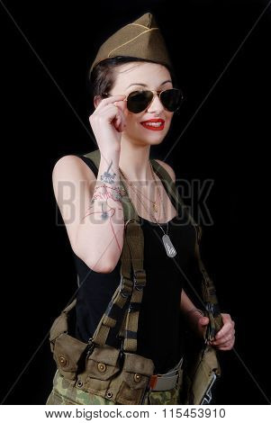Sexy Young Woman Posing In Ww2 Military Uniform