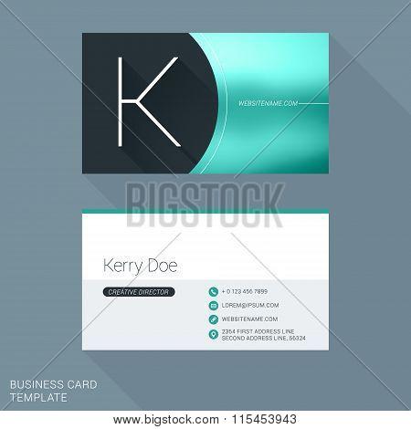 Creative Business Card Template. Letter K. Flat Design Vector Illustration. Stationery Design