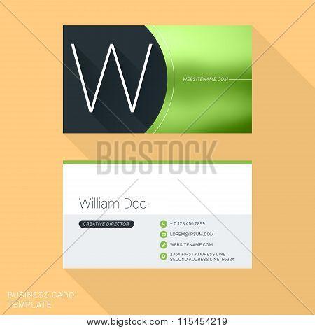 Creative Business Card Template. Letter W. Flat Design Vector Illustration. Stationery Design