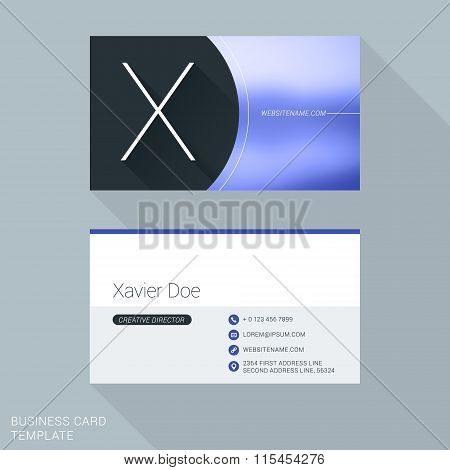 Creative Business Card Template. Letter X. Flat Design Vector Illustration. Stationery Design