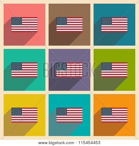 Set of flat icons with long shadow American flag