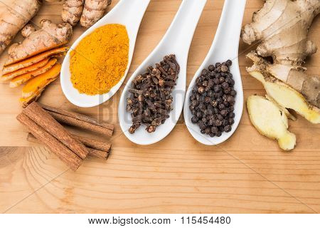 Ingredients For Turmeric Tea Consisting Ginger, Cinnamon, Cloves, Black Pepper
