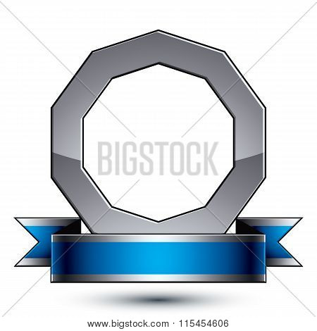 Silver Heraldic Vector Round Template, Dimensional Royal Geometric Medallion With Blue Stylish Undul