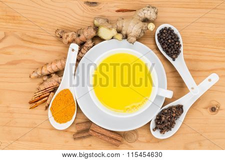Healthy Turmeric Milk Tea With Ginger, Cinnamon, Cloves, Black Pepper