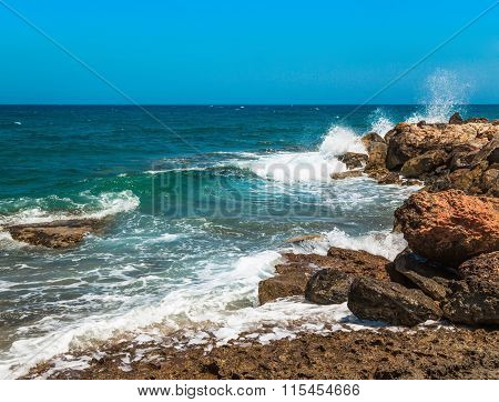 Rocky Coastline And A Beautiful Clear Water At Halkidiki, Greece