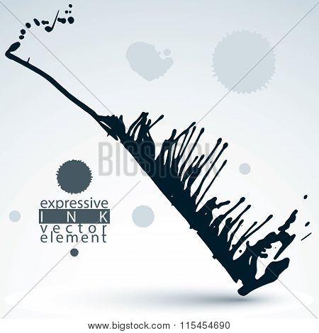 Splattered Monochrome Web Design Element, Art Ink Blob, Paintbrush Drawing. Smudge Graffiti Backgrou