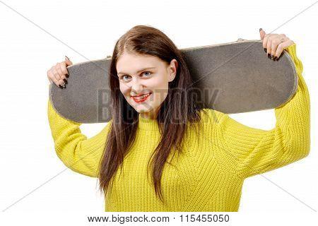 Smiling Skater Girl Holding Skateboard On White