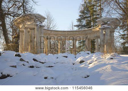 Colonnade of Apollo in the light of the setting sun. Pavlovsk