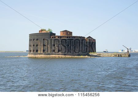 View of the Fort Emperor Alexander I (Plague) july day. Kronstadt
