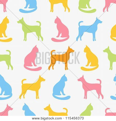Animal seamless vector pattern of cat and dog silhouettes.