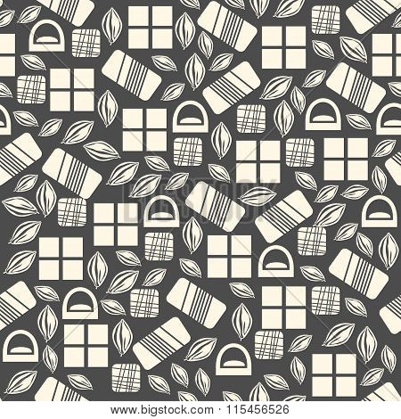 Seamless pattern with chocolate sweets isolated on black background