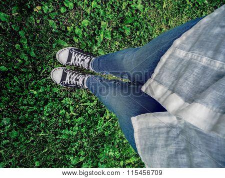 A Foot Selfie On The Grass.
