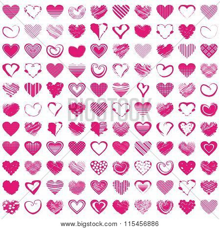 Hand-drawn romantic hearts. Vector illustration