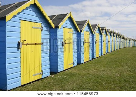 Row Of Beach Huts On Bognor Seafront, Sussex, England