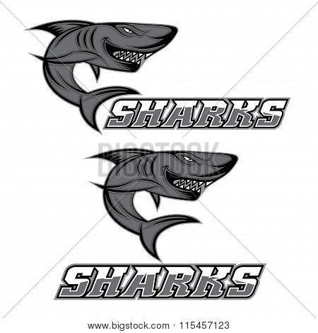 Cartoon Aggressive Shark For Sport Team