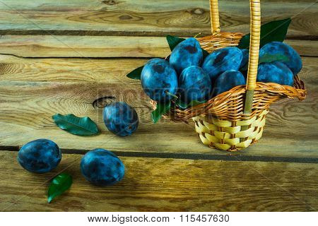 A Basket Of Plums Prunes