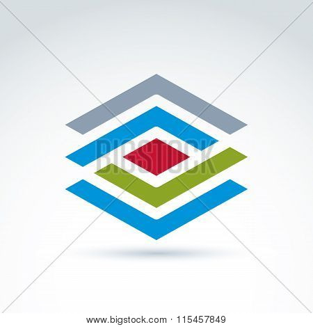 Abstract Geometric Figure With Lines And Diamond, Red Rhombus. Vector Colorful Complex Stencil Symbo