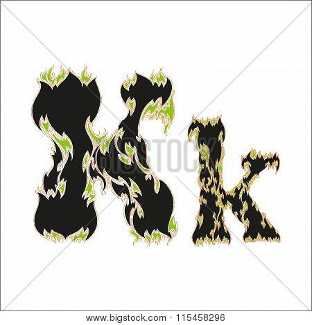 fiery font black and green letter K on white background