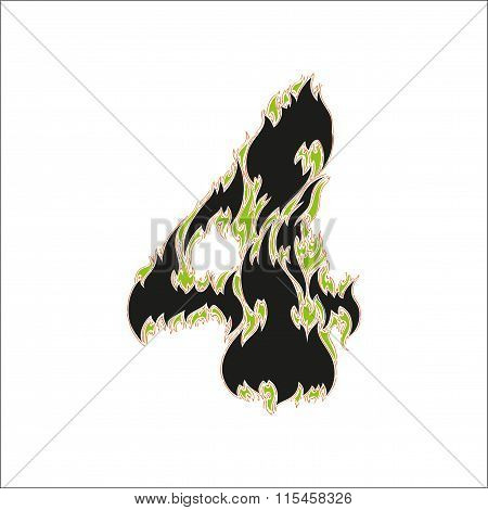 fiery font black and green number 4 on white background