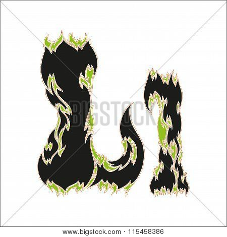 fiery font black and green letter L on white background