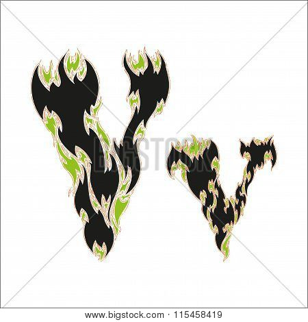 fiery font black and green letter V on white background