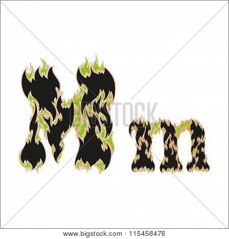 fiery font black and green letter M on white background