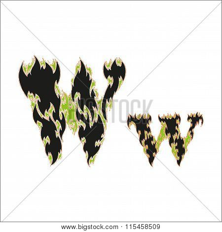fiery font black and green letter W on white background