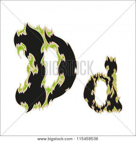fiery font black and green letter D on white background