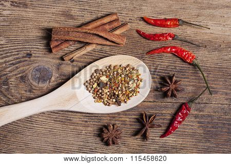 Indian Spice On Wooden Spoon