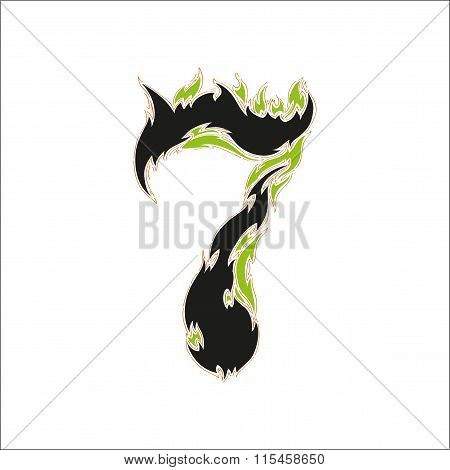 fiery font black and green number 7 on white background