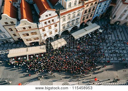 Top View of large group of tourists at Prague old town square lo