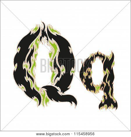 fiery font black and green letter Q on white background