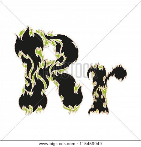 fiery font black and green letter R on white background