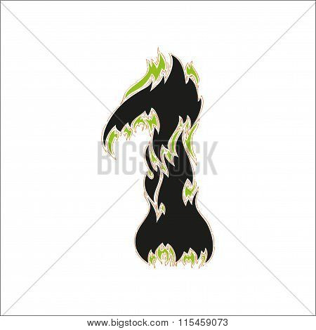 fiery font black and green number 1 on white background