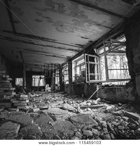 Abandoned Building Interior. Old forsaken house