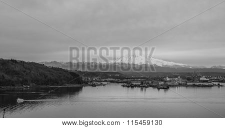 Clouds Over Rainier And Port BW