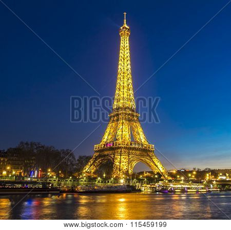 The Eiffel Tower At Night; Paris, France.