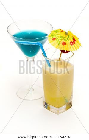 Cocktails With Blue Curacao & Pina Colada Isolated On White Background