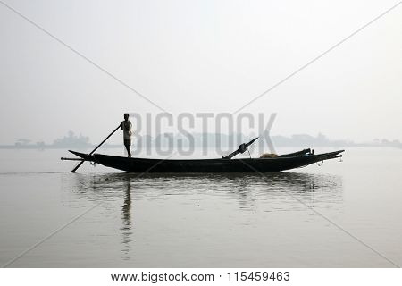SUNDARBANS - JANUARY 15: Misty morning on the holiest of rivers in India. Ganges delta in Sundarbans, West Bengal, India on January 15, 2009.