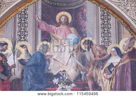 FLORENCE, ITALY - JUNE 05: Christ Enthroned with Mary and St. John the Baptist Main Portal of Cattedrale di Santa Maria del Fiore(Cathedral of Saint Mary of the Flower), Florence, Italy, June 05, 2015