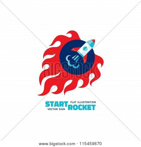 Start rocket - vector logo concept illustration. The launch rocket with fire flame shapes. Start-up.