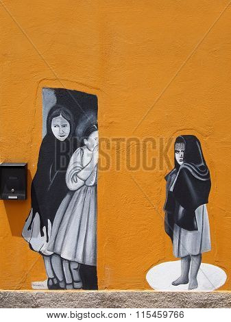 Wall Painting Of Three Girls