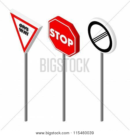 Isometric icons various road sign. European and american style design. Vector illustration eps 10.
