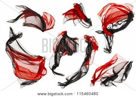 Fabric Cloth Flow Waves, Folded Satin Fly Red Black On White