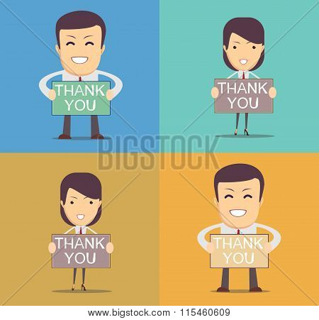 Businessman holding thank you sign