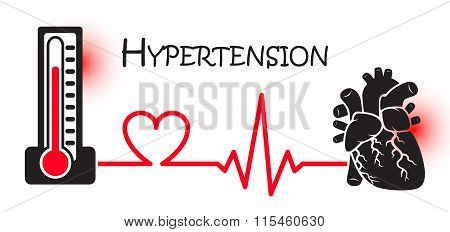Essential Or Primary Hypertension ( High Blood Pressure )( Sphygmomanometer Connect To Heart )