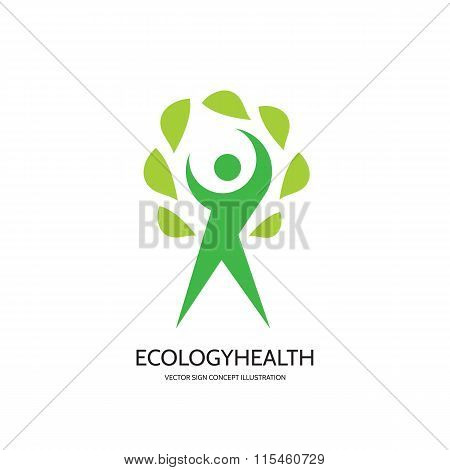 Ecology vector logo concept illustration. Health logo. Healthcare logo. Wellness logo sign.