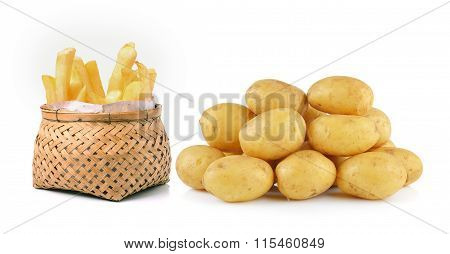 Potato And French Fries In Basket Isolated On White Background