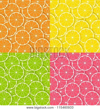 Four types of citrus fruit slice backgrounds with juice drops