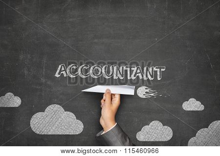 Accountant concept on blackboard with paper plane